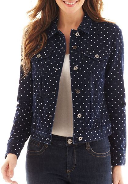Liz Claiborne Dot Denim Jacket