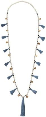 Betsy & Floss Blue Grey Tassel Necklace