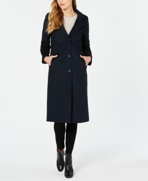 Jones New York Single-Breasted Notch Collar Reefer Maxi Coat