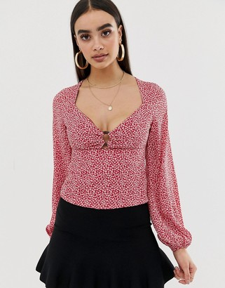 Fashion Union balloon sleeve blouse with ring detail in floral