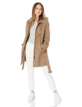 Calvin Klein Women's Cotton rain Coat with Gun Flaps at Chest Hooded with Removable Belt