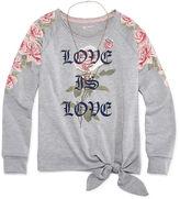 Arizona LS Tie Front Graphic Top w/ Necklace - Girls' 7-16 & Plus