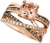LeVian Le Vian Peach Morganite (1-3/4 ct. t.w.) and Diamond (3/4 ct. t.w.) Ring in 14k Rose Gold