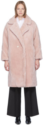 Yves Salomon Meteo Pink Woven Wool Coat