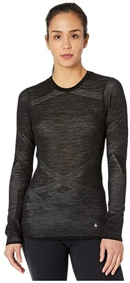 Smartwool Intraknit Merino 200 Crew (Black/White) Women's Clothing