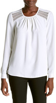 Anne Klein Polyester Ruched Neck Blouse