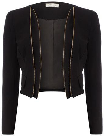 Dorothy Perkins Black zip detail jacket