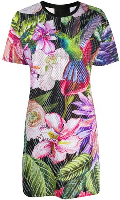 Philipp Plein embellished flower print T-shirt dress