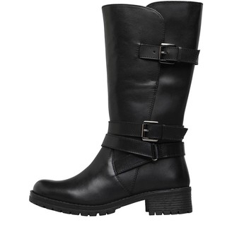 Onfire Womens Leather Mid Strap Boots Black