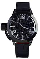 U-Boat Classico 40 IPB Pave Diamond Women's Automatic Watch with Black Dial Analogue Display and Black Strap 6978.0