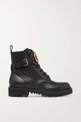 Valentino Garavani Go Logo Embellished Leather Ankle Boots - Black