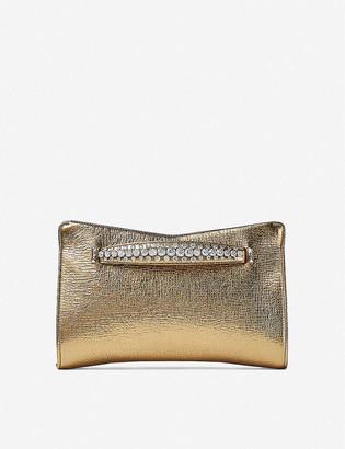 Jimmy Choo Venus crystal-embellished metallic leather clutch