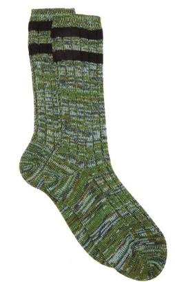 Raey Marled Wool-blend Socks - Mens - Khaki Multi