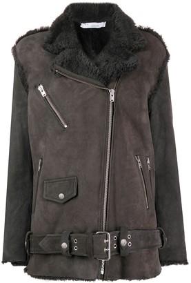 IRO shearling zip detail coat