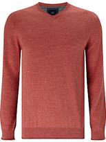 John Lewis Budding Cotton V-neck Jumper, Washed Red