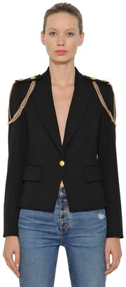 Veronica Beard Chain Embellished Stretch Crepe Blazer
