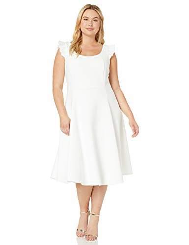 Women\'s Plus Size Scoop Neck Dress with Ruffle Trim Straps