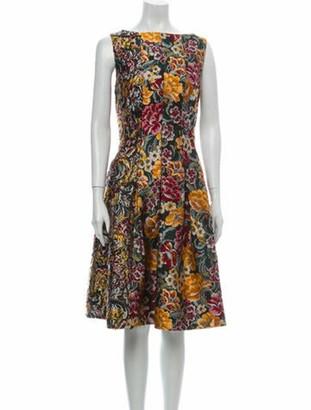 Oscar de la Renta Floral Print Knee-Length Dress w/ Tags Green