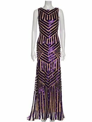 Jovani Printed Long Dress Purple