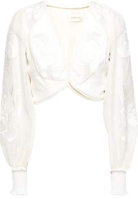 Zimmermann Cropped Gauze-paneled Embroidered Linen And Silk-blend Blouse