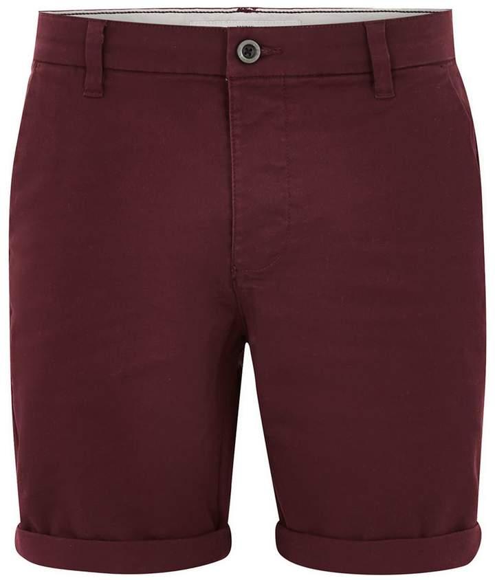 Topman Burgundy Stretch Skinny Chino Shorts