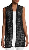 Joan Vass Cotton Lace Vest, Black, Plus Size