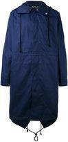 Raf Simons back print hooded coat - men - Polyester/Cotton - 48