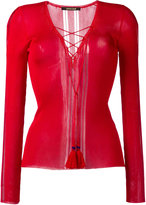 Roberto Cavalli laced neck top - women - Viscose - 42