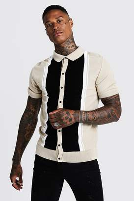boohoo Colour Block Knitted Shirt