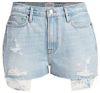 Frame Le Beau High-Rise Peeking Pocket Denim Shorts