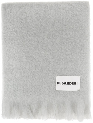 Jil Sanderand Grey Mohair and Wool Scarf