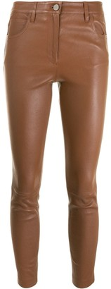 Theory Cropped Leather Trousers