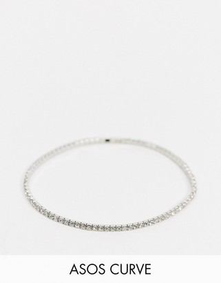 Asos DESIGN Curve stretch bracelet with crystal in silver tone