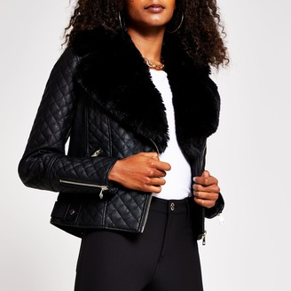 River Island Womens Black quilted faux fur pu biker jacket