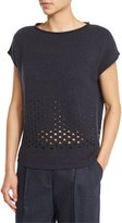 Lafayette 148 New York Short-Sleeve Metallic Eyelet Sweater, Ink Metallic