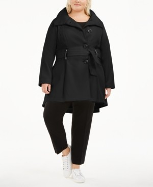 Madden-Girl Juniors' Plus Size Skirted Belted Coat, Created for Macy's