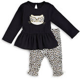 Petit Lem Baby Girls Wild Prince Peplum Top and Leggings Set
