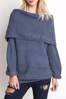 Umgee USA Foldover Ribbed Sweater