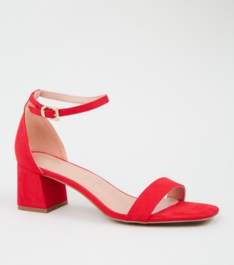 New Look Suedette 2 Part Flared Block Heels
