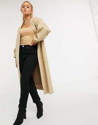 Helene Berman wool blend edge to edge balloon sleeve coat in camel
