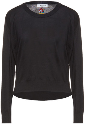 Lanvin Embroidered Merino Wool And Cotton-blend Sweater