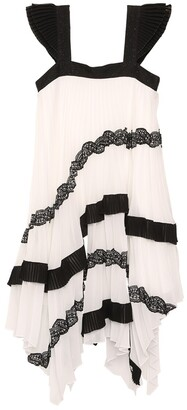 Givenchy Pleated Voile Dress W/ Asymmetrical Hem