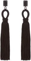 Oscar de la Renta Crystal-embellished silk-tassel long earrings