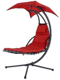Sunnydaze Decor Floating Chaise Lounger Swing Chair with Canopy Umbrella
