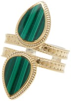 Anna Beck 18K Gold Plated Sterling Silver Double Malachite Teardrop Ring