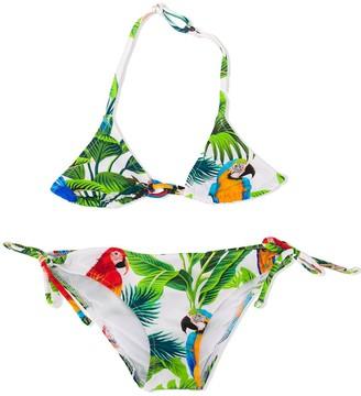 Mc2 Saint Barth Kids Holly parrot print bikini