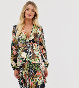 Queen Bee Maternity plunge front skater dress in tropical print