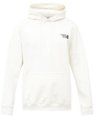 Vetements Logo-embroidered Cotton-blend Hooded Sweatshirt - White