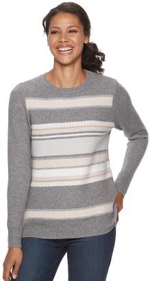 Croft & Barrow Petite Lurex Print Crewneck Sweater