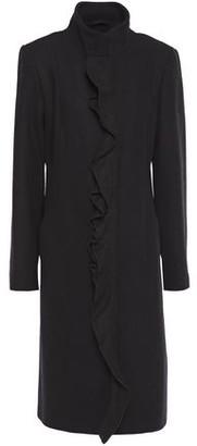 DKNY Ruffle-trimmed Brushed Wool-blend Coat